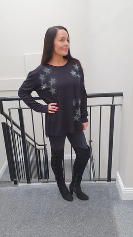 Chic Embellished  Knitwear With Stunning Small Star Bling Detail in Black
