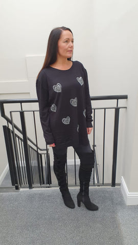 Chic Embellished Knitwear With Stunning Small Heart Bling Detai in Black l