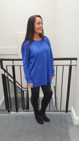 Chic Embellished Knitwear With Stunning Small Heart Bling Detail in Cobalt Blue