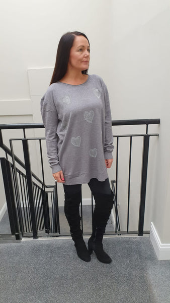 Chic Embellished Knitwear With Stunning Small Heart Bling Detai in Grey l