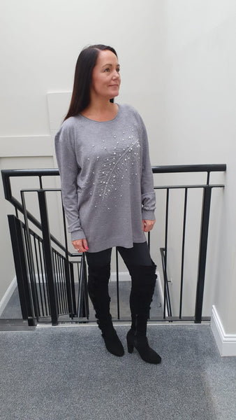 Leaf Chic Embellished Knitwear With Stunning Bling Detail in Grey