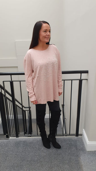 Leaf Chic Embellished Knitwear With Stunning Bling Detail in Pink