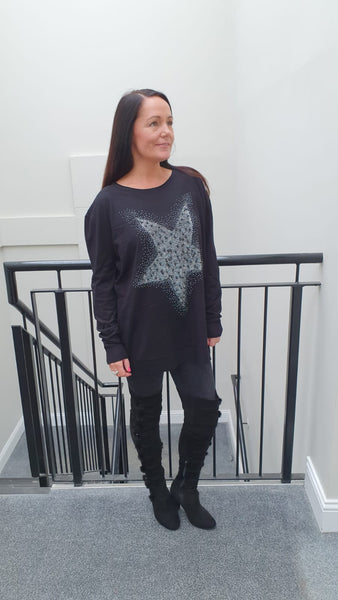 Large Pearl Heart Chic Embellished Knitwear With Stunning Bling Detail in Black