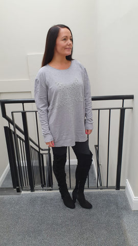 Large Pearl Star Chic Embellished Knitwear With Stunning Bling Detail in Grey