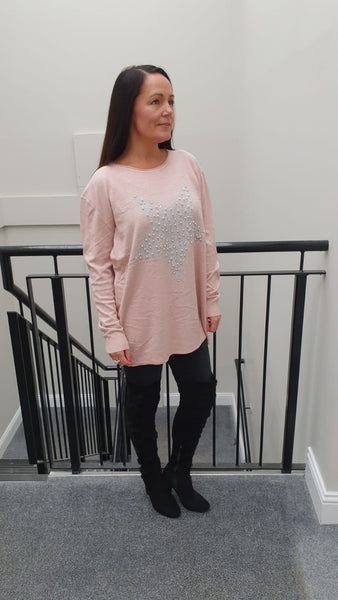 Large Pearl Star Chic Embellished Knitwear With Stunning Bling Detail in Pink