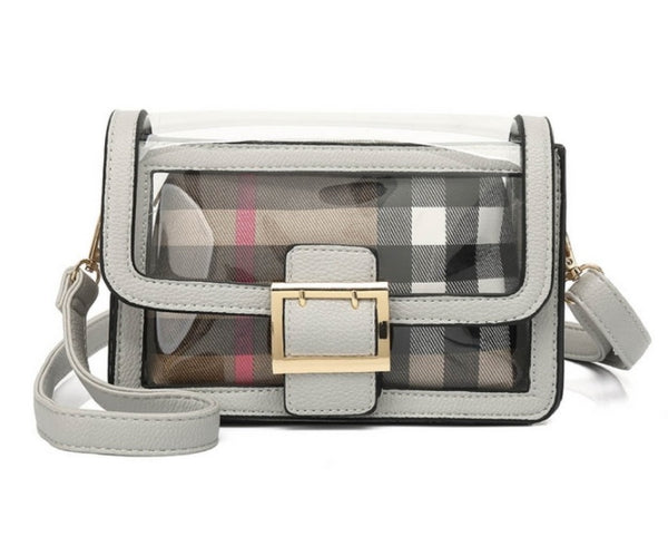 Grey Transparent shoulder bag with make up bag - K6135