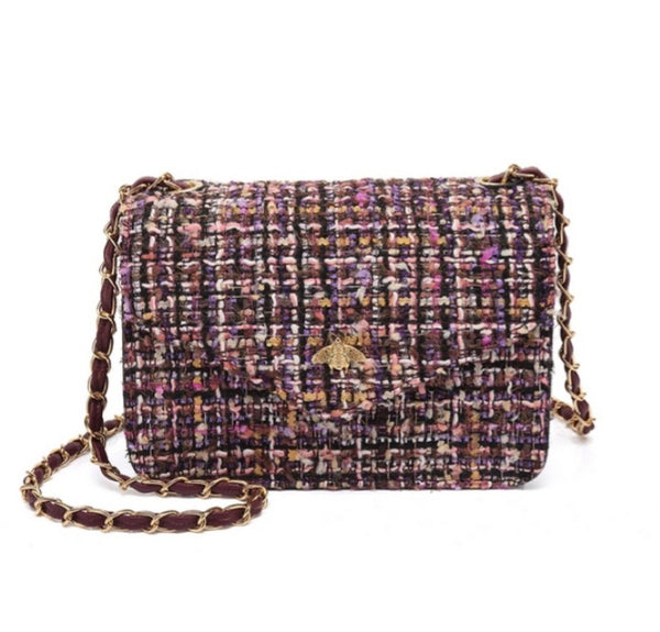 Wine Bumblubee Chanel Inspired Tweed Chain Detail Shoulder Bag - K6308