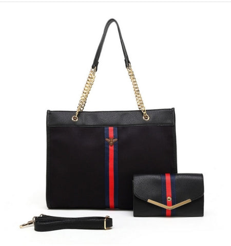 Black Gucci Inspired Bag And Matcbing Purse