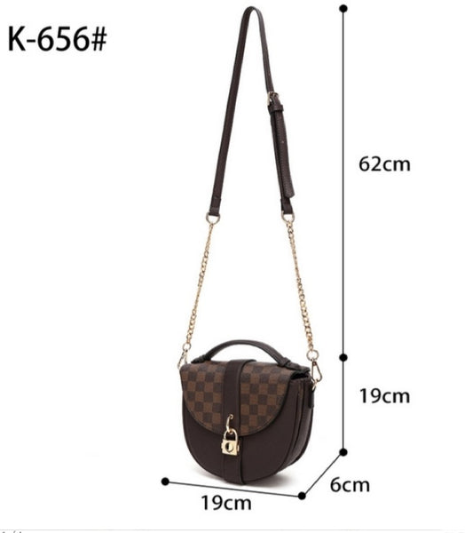 Brown Check Print Cross Body Bag With Three Compartment - K656