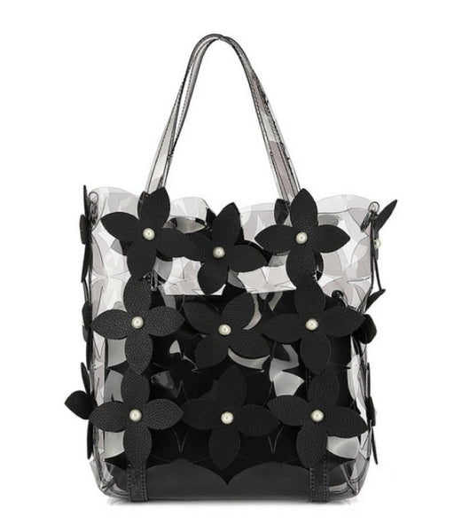 Black Clear jelly bag cutting flower with cross body bag a set - 8687-1