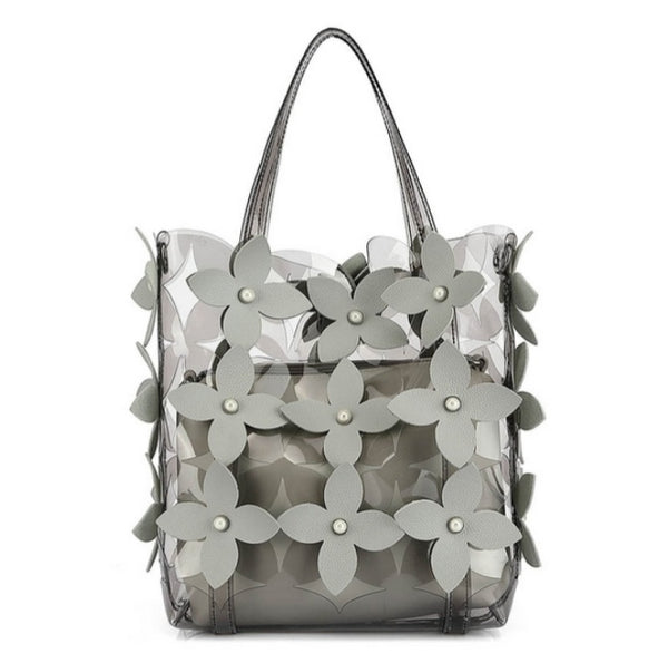 Grey Clear jelly bag cutting flower with cross body bag a set - 8687-1