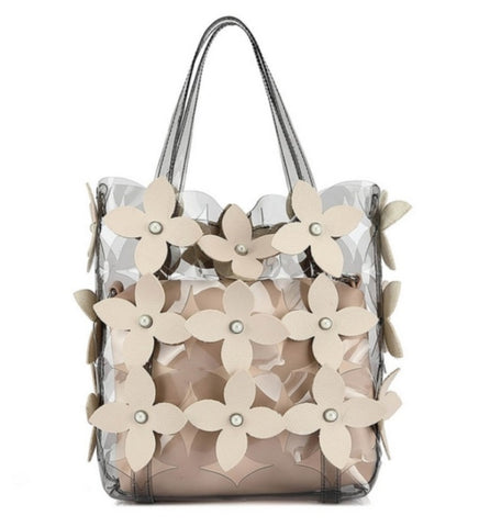 Nude Clear jelly bag cutting flower with cross body bag a set