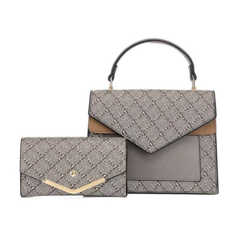 Gucci Inspired Bag With Matching Purse In Grey