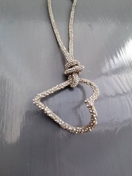 Abstract Heart Necklace In Silver Bling