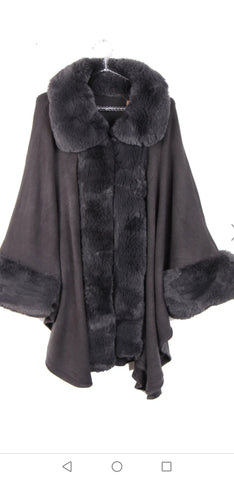 ULTRA SOFT FAUX FUR TRIM SLEEVE KNITTED PONCHO CAPE.DARK GREY