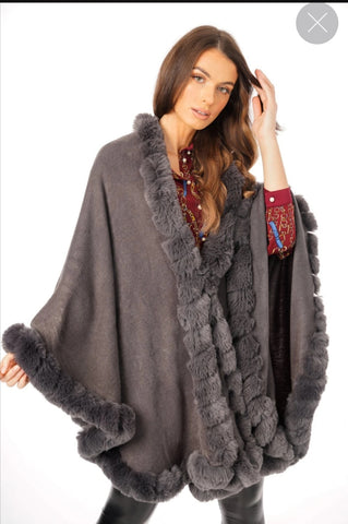 ULTRA SOFT FAUX FUR TRIM SWING PONCHO CAPE IN DARK GREY 220809-1