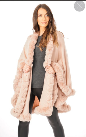 ULTRA SOFT FAUX FUR TRIM SWING PONCHO CAPE BAB YPINK  220809-1