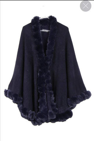 ULTRA SOFT FAUX FUR TRIM SWING PONCHO CAPE NAVY BLUE  220809-1