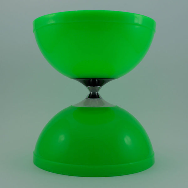 Green diabolo with fibreglass hand sticks and fine string