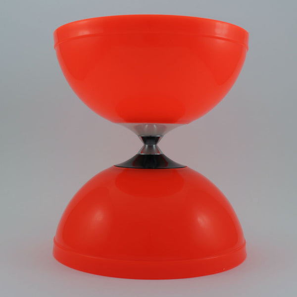 Orange diabolo with fibreglass hand sticks and fine string