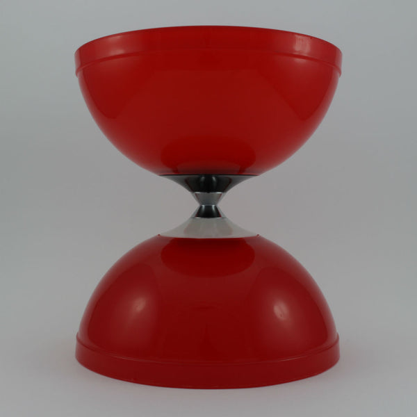 Red diabolo with fibreglass hand sticks and fine string - Balls for your mind