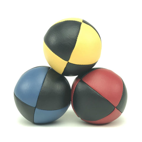Prestige-Australian Made Ultaleather Juggling Ball-RedBlueYellowBlack-BallsForYourMind