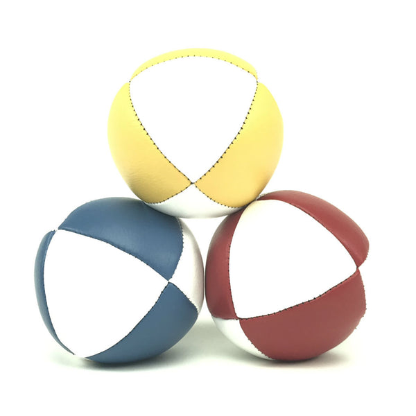 Pestige-Australian Made Ultraleather Juggling Ball-RedBlueYellowWhite-BallsForYourMind