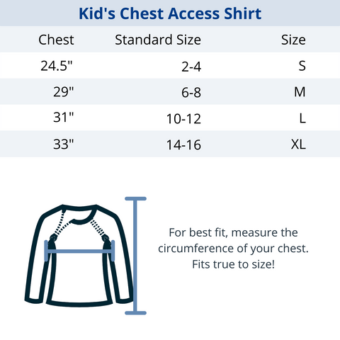 Kids Chest Port Access Size Guide