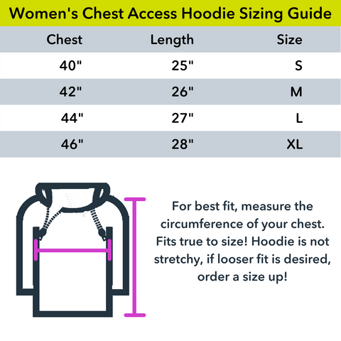 Womens Chest port access size guide