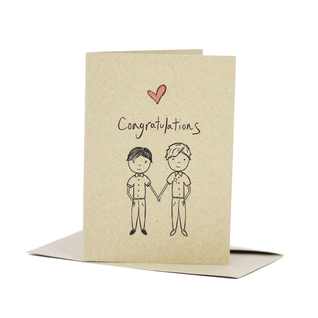 Wedding congratulations - Mr & Mr (Kraft Brown) - Pack of 5