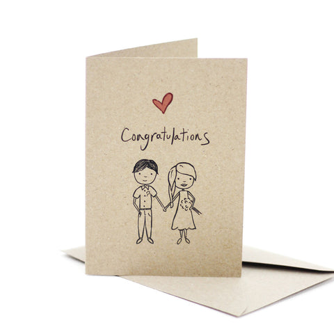 Wedding congratulations- Mr & Mrs (Kraft Brown) - Pack of 5
