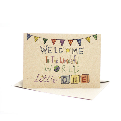 Welcome to the wonderful world (Kraft Brown) - Pack of 5