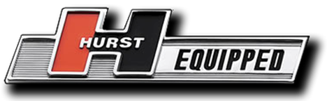 """HURST EQUIPPED"" chrome emblem - self adhesive"