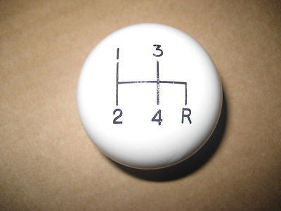 "4 speed RDR engraved shift knob WHITE: 3/8""-16 for 1980-1986 Jeep CJ w/ T4 or T176 + 1984-1986 XJ w/ AX4"