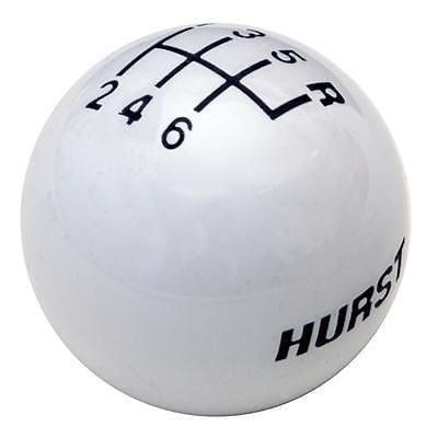 "6 speed logo imprinted shift knob WHITE: 3/8""-16 for Hurst chrome sticks"