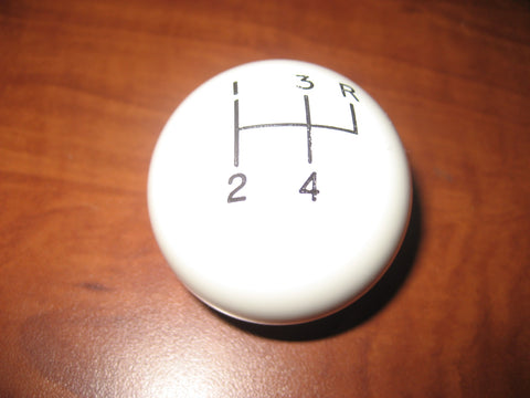 "4 speed RUR engraved shift knob WHITE: 3/8""-24 for 1955-1978 Jeep CJ T98 T18"
