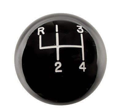 "4 speed engraved shift knob BLACK: 5/16""-18 for GM / Muncie chrome shifters"
