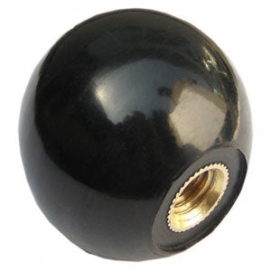 "2"" round plain BLACK shift knob - polished"