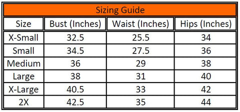 Swimwear 2X Sizing Guide