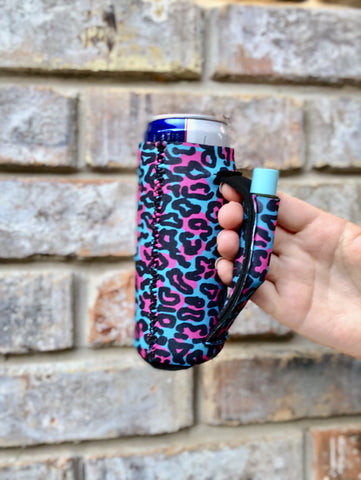 Blue Leopard Slim Can Cooler