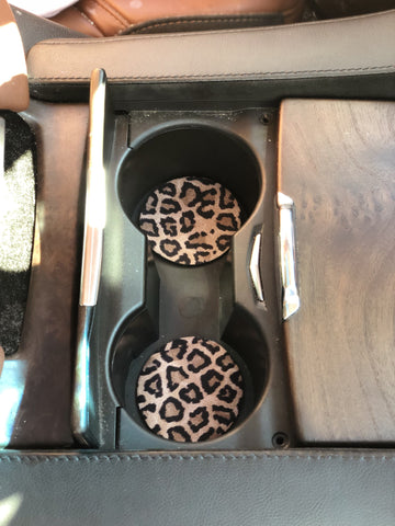 Leopard Neoprene Car Coasters