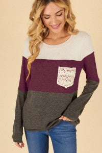Lace Pocket Long Sleeve PLUS