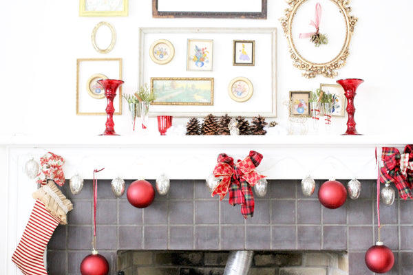 fire place decorations for christmas bows and red balls