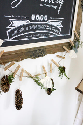 pine cone, greenery DIY garland handmade by hattitude jewels studio