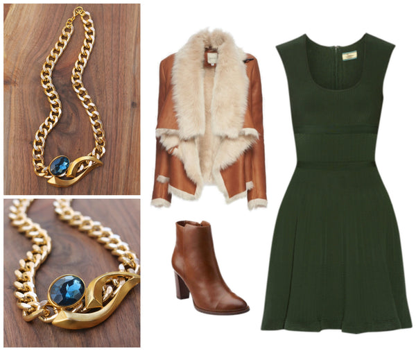 what to wear on a date? fashion ideas green dress, blue statement necklace, brown booties, fur leather jacket