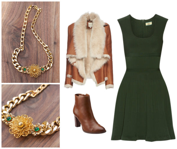 fashion date night friday night ideas what to wear for a date night? green dress, leather fur jacket, ankle booties, statement necklace