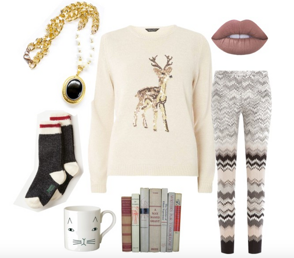 winter style outfit for cozying up by the fire and reading a good book
