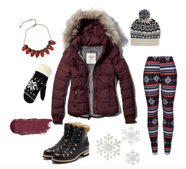 clothing outfit perfect for grabbing hot chocolate or going snow shoeing cross country skiing