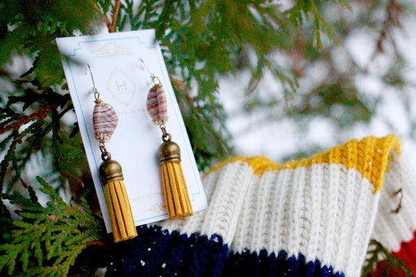 yellow tassel earrings one of a kind handmade in toronto by hattitude jewels