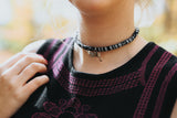Black and white bow choker FLINT